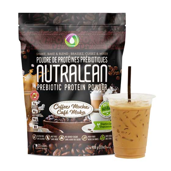 Nutralean Prebiotic Protein Powder Coffee Mocha 32 ounce resealable bag
