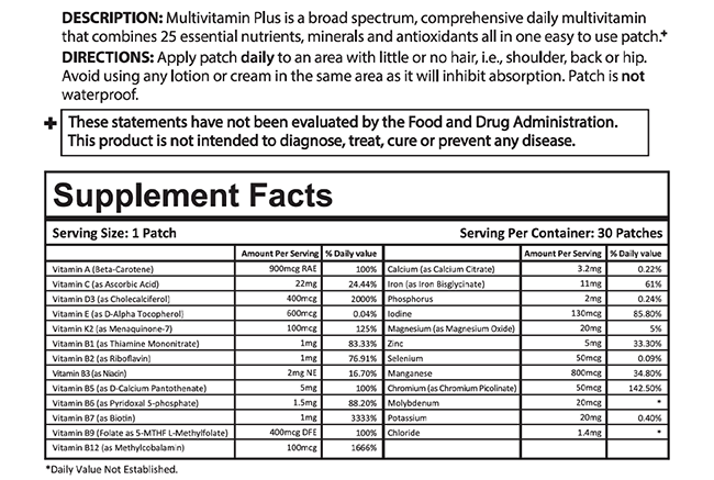 MultiVitamin Plus Patch Supplemental Facts