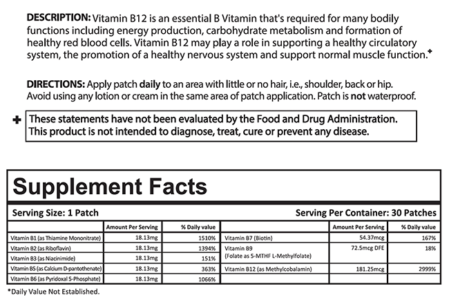 B12 Patch Supplement Facts