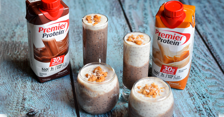 Layered Caramel Chocolate Chia Protein Pudding NEW