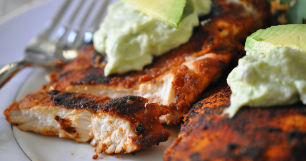 blackened chicken with avocado cream sauce recipe
