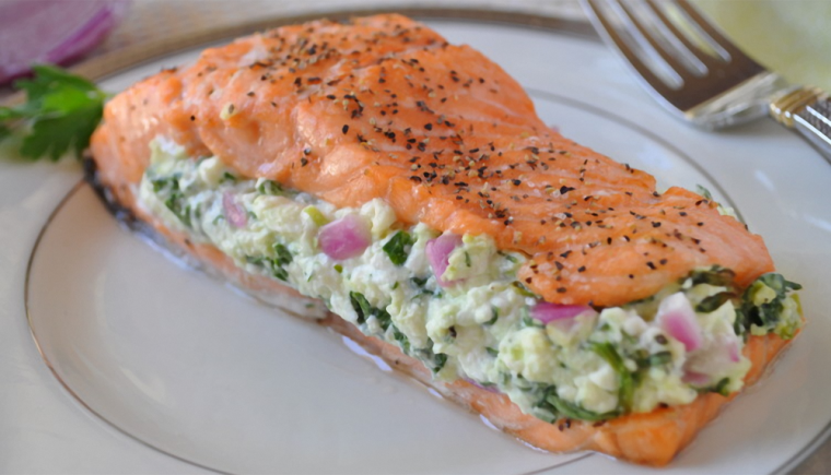 Salmon with Spinach Feta Stuffing Recipe
