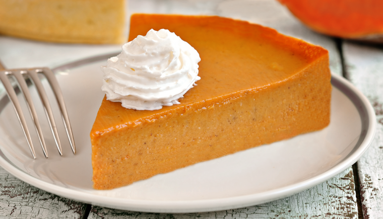 Slice of Crustless Protein Pumpkin Pie