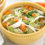 Instant Pot Chicken Zoodle Soup Recipe, 103 calories & 14g protein!