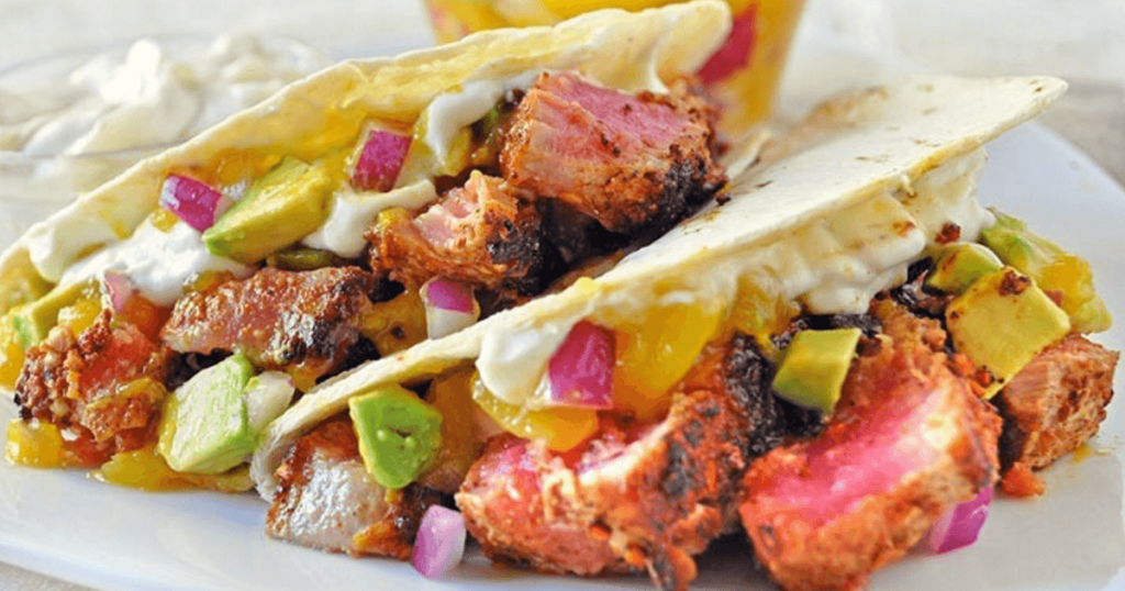 Tuna Tacos with Wasabi Cream and Mango Salsa Recipe