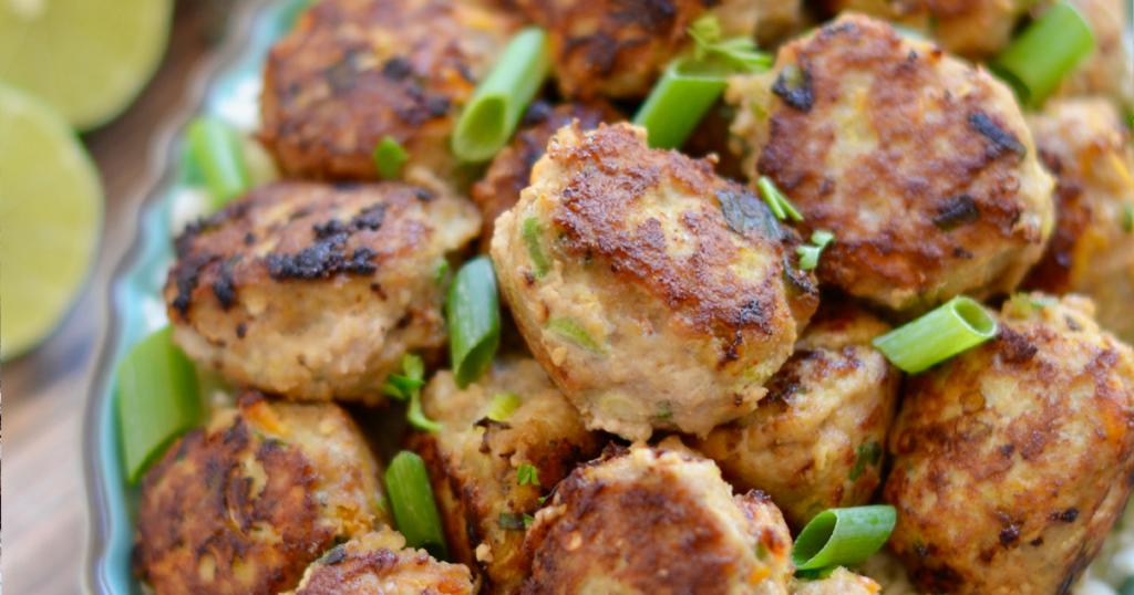 Thai Curry Turkey Meatballs on a Plate