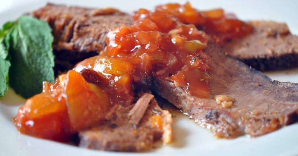 Crock Pot BBQ Beef Brisket with Mango BBQ Sauce Recipe