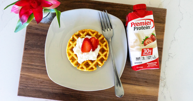 Premier Protein Strawberry Waffles on a Plate