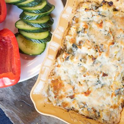 Low-Carb Appetizer Recipes, Hot Kale & Artichoke Dip