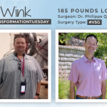Before & After VSG with Wink, down 185 pounds!