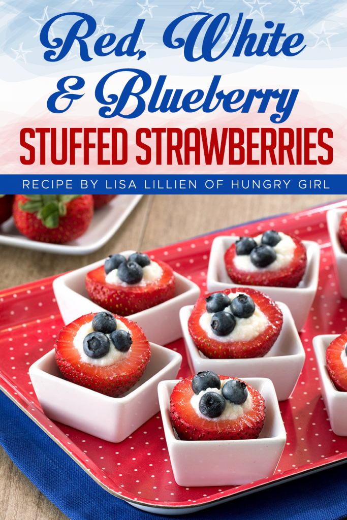 Red White & Blueberry Stuffed Strawberries